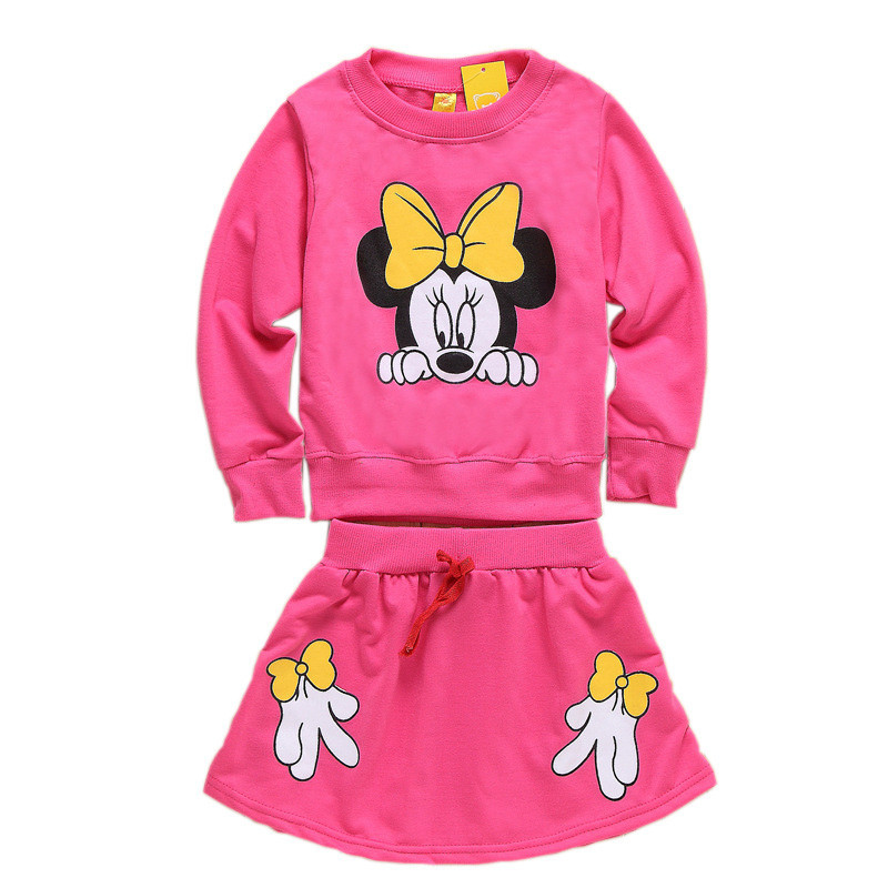 Children cartoon clothing sets minnie kids clothes girls clothing sets baby girl cartoon t-shirt+ skirt 2pcs set<br><br>Aliexpress