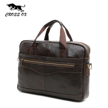 "CROSS OX Genuine Leather Brown Men Briefcase 14"" Laptop Business Bag Cowhide Men's Messenger Bags Luxury Lawyer Handbags HB387F(China (Mainland))"