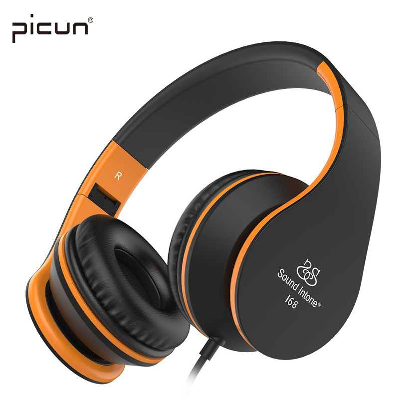 Picun Sound Intone I68 Foldable Headphones with Mic Volume Control Music Headsets Headphone for iPhone Android Smartphone MP3(China (Mainland))