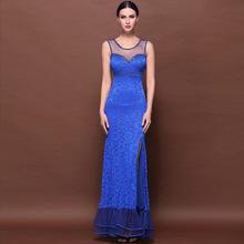 2015 new women's split gauze transparent lace beaded long Cheap Dress Formal Party Dresses 60282(China (Mainland))