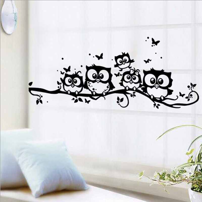 Owls Wall Stickers Removable Art Decal Animals Vinyl Walls For Kids