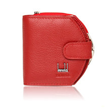 2016 Lovley Short Hasp Cowhide Genuine Leather Women Coin Bag Wallet Brand Designer Cartera Purse Female Card Wallet(China (Mainland))