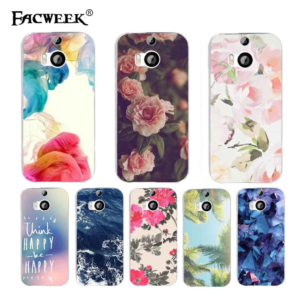 2016 Fashion Popular Case For HTC One M8 Transparent Colorful Pattern Phone Cover For HTC M8 One 2 Plastic Hard Phone Cases(China (Mainland))