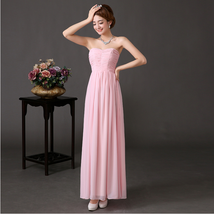 2015 women latest fashion strapless long chiffon cover dress prom dresses girls made china S1739 - I And You Story store