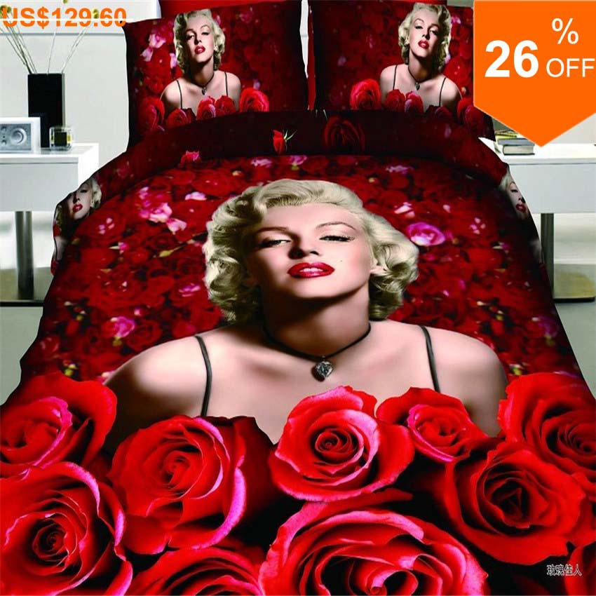 3D oil printed sexy Marilyn Monroe red roses 100% cotton 4pcs bed linen bedclothes bedding set comforter cover set Queen/B2390(China (Mainland))