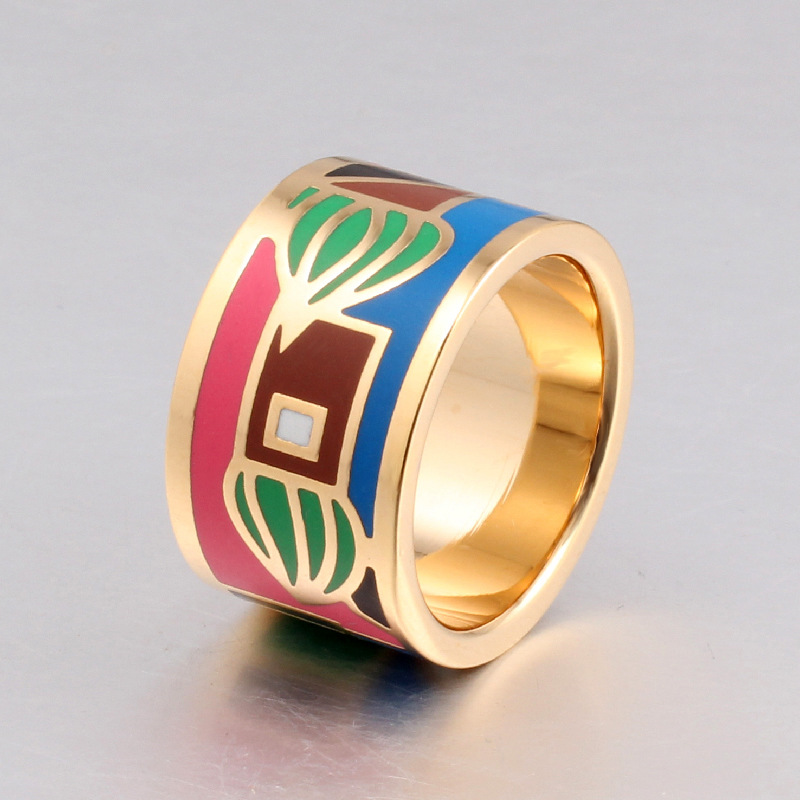 2016 New arrival stainless steel big rings for women 18k gold-plated filled color design The rich and colorful Fashion Rings(China (Mainland))