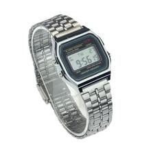 Durable Hot Sale 1Pcs Vintage Women/Men Stainless Steel Alarm Digital Watch (Sliver) Wholesale Fast Shipping