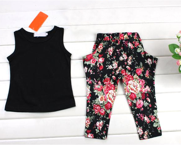 Free shipping 2015 summer childrens clothing sets kids girl set 3pcs suit set T-shirt + pants + flower headband retail 57<br><br>Aliexpress