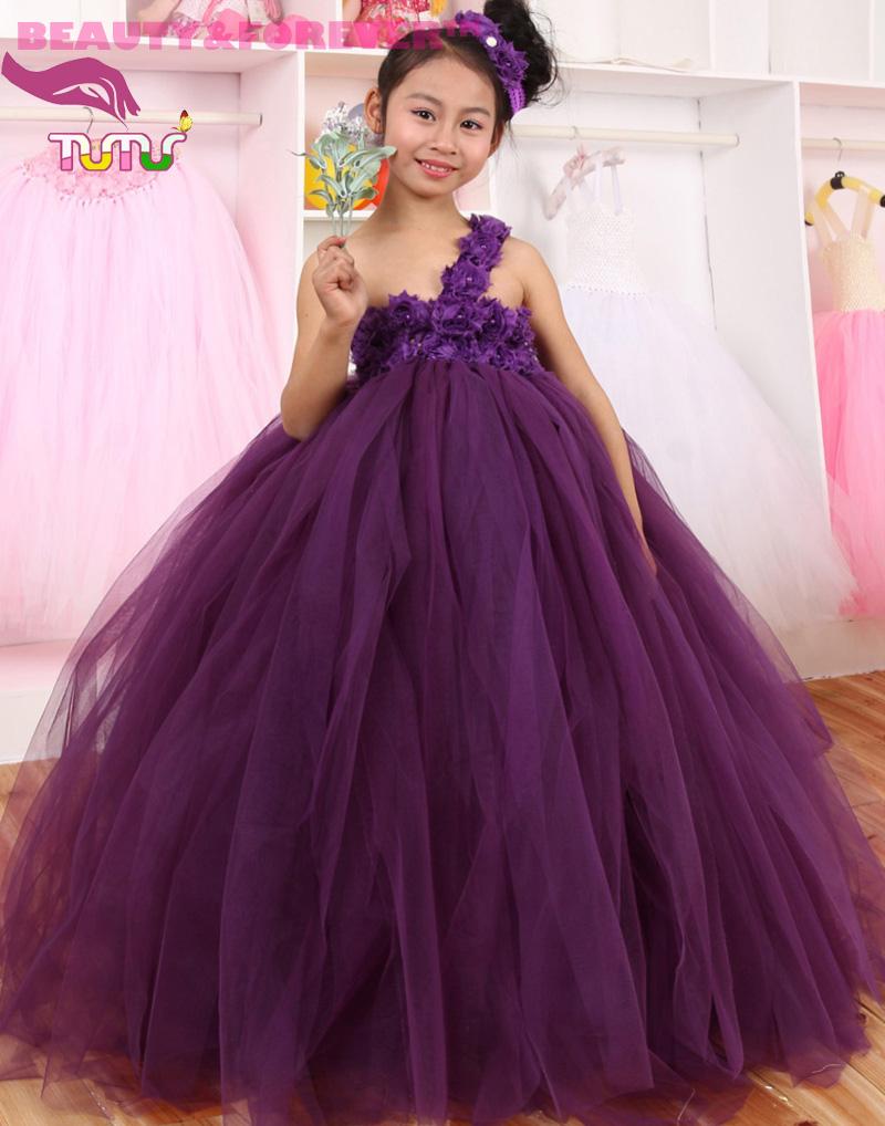 Handmade dark purple tulle one shoulder crochet top floor-long flower girl wedding and evening dress(China (Mainland))
