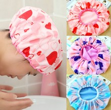 New Arrival Lovely Thick Waterproof Elastic Band Hat Hair Bath Double Shower Spa Cap (China (Mainland))