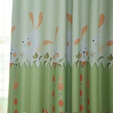 Cartoon Bunny Blackout Cloth Curtains For Boy/Girl child Bedroom Kids Room Living Room Pink Green Sheer Tulle Customized p116&4(China)
