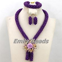 2016 Fashionable African Beads Jewelry Set Purple Costume Nigerian Wedding African Bridal Jewelry Set Free Shipping AEJ989(China (Mainland))