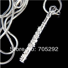 New Fahion Vintage Crystal Flute Woodwind Music Musical Instrument Pendant Necklace  Free Shipping(China (Mainland))