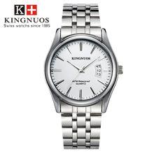 Relogio Masculino Kingnuos montres pour hommes en acier inoxydable bande analogique montre-bracelet à Quartz montre de luxe hommes horloge mâle reloj hombre(China)