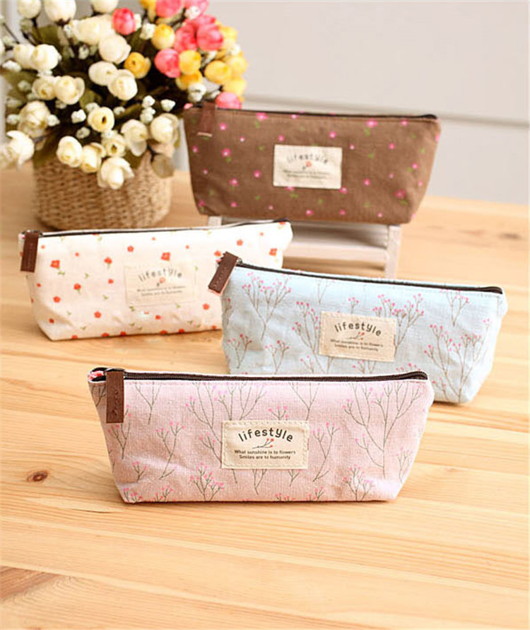 300 pcs Women Girl New Flower Floral Pencil Pen Case Cosmetic Makeup Tool Bags Storage Pouch Purse<br>