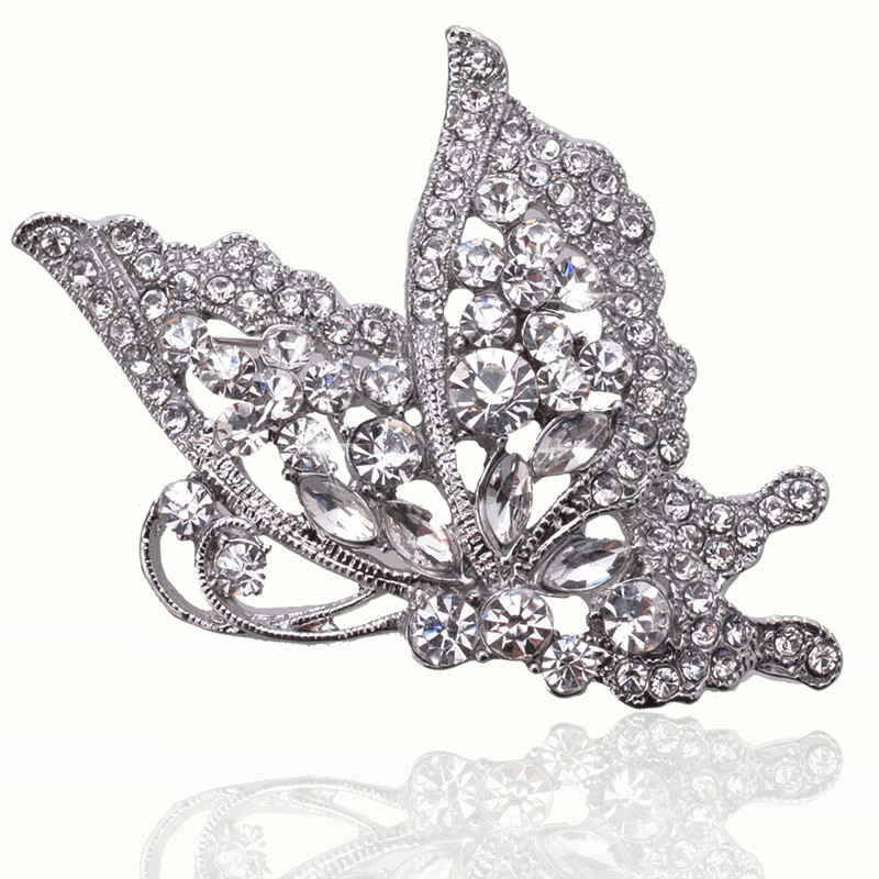 Hollow Silver Crystal Butterfly 18k Silver Plated Austrian Crystal Brooches & Pins For Women Fashion Jewelry Free Shipping(China (Mainland))