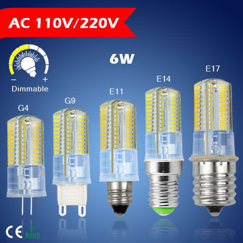 1 X G9 G4 E14 E11 E17 LED Crystal Lamp AC110V 220V 6W 360 degree light Cree 3014SMD 64leds for Chandelier lighting(China (Mainland))