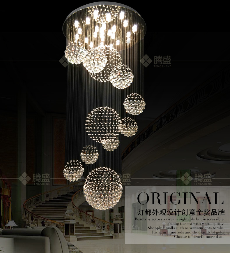 2016 NEW Double floor lamp house Lamp house living room LAMP is simple and modern stairs light hall crystal pendant lighting(China (Mainland))
