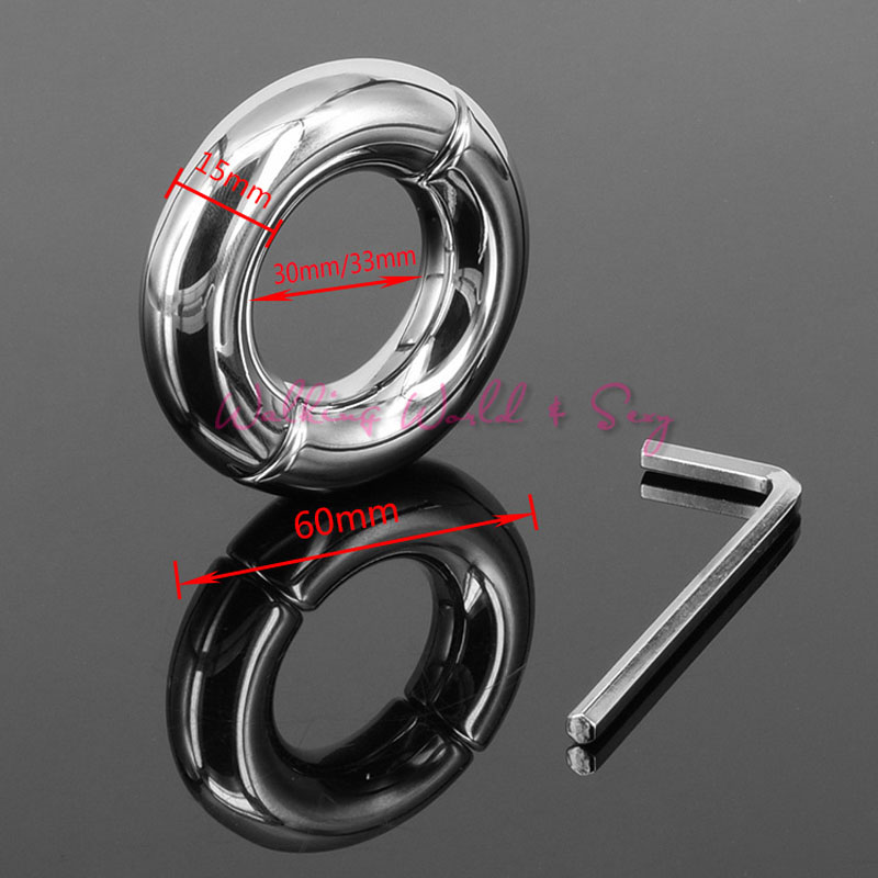 15mm Thick Heavy Metal Screw Locking Penis Ring Stainless Steel Cock Ring Scrotum Testicle Lock Ball Stretcher Sex Toys For Men(China (Mainland))