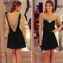 Hot sales Gold flower lace and black white chiffon patchwork V-neck backless mini dress free shipping(China (Mainland))