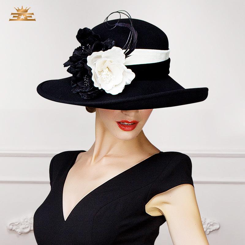 2015 New Winter big flowers elegant wool fedora hat for women large brim balck purple party church fashion designer ladies hat(China (Mainland))