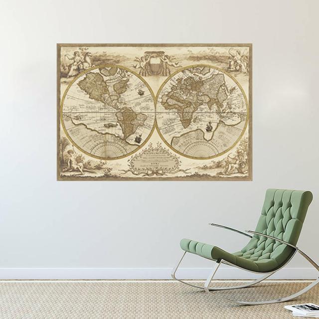 Винтажный стиль ретро карта мира плакат украшения дома искусства стены карта древняя картина с самым высоким рейтингом картины 1469 декор для дома номер