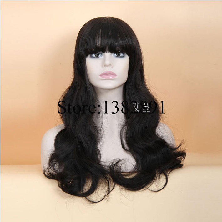 Cheap Long Wavy Wig With Full Bangs Pelucas Pelo Heat Resistant Synthetic Hair None Lace Wigs for African American Black Women <br><br>Aliexpress