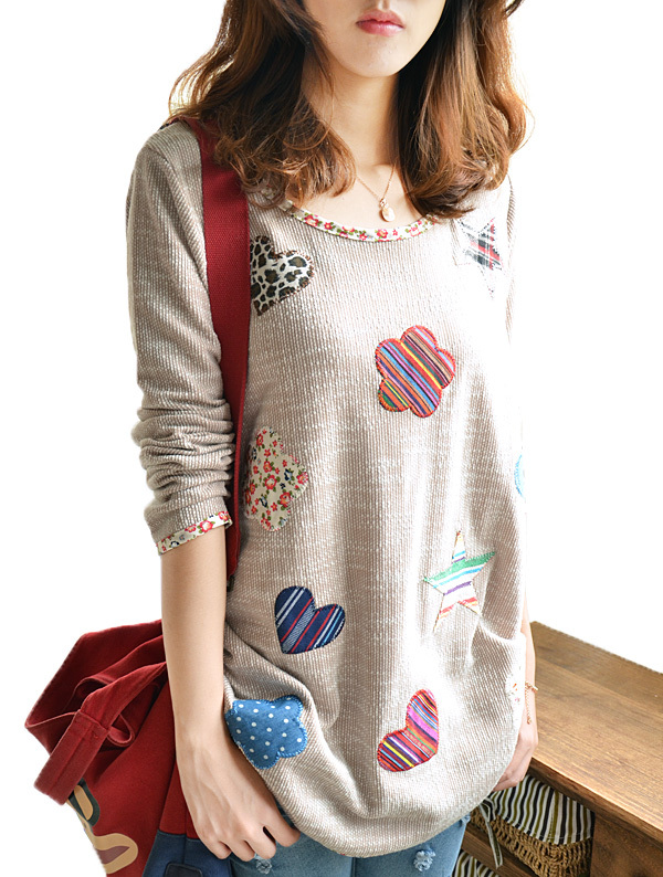Good quality women Plus size long Knit sweater, women long sleeve Flower Heart Patch sweaters, 2015 fashion sweater pullovers(China (Mainland))