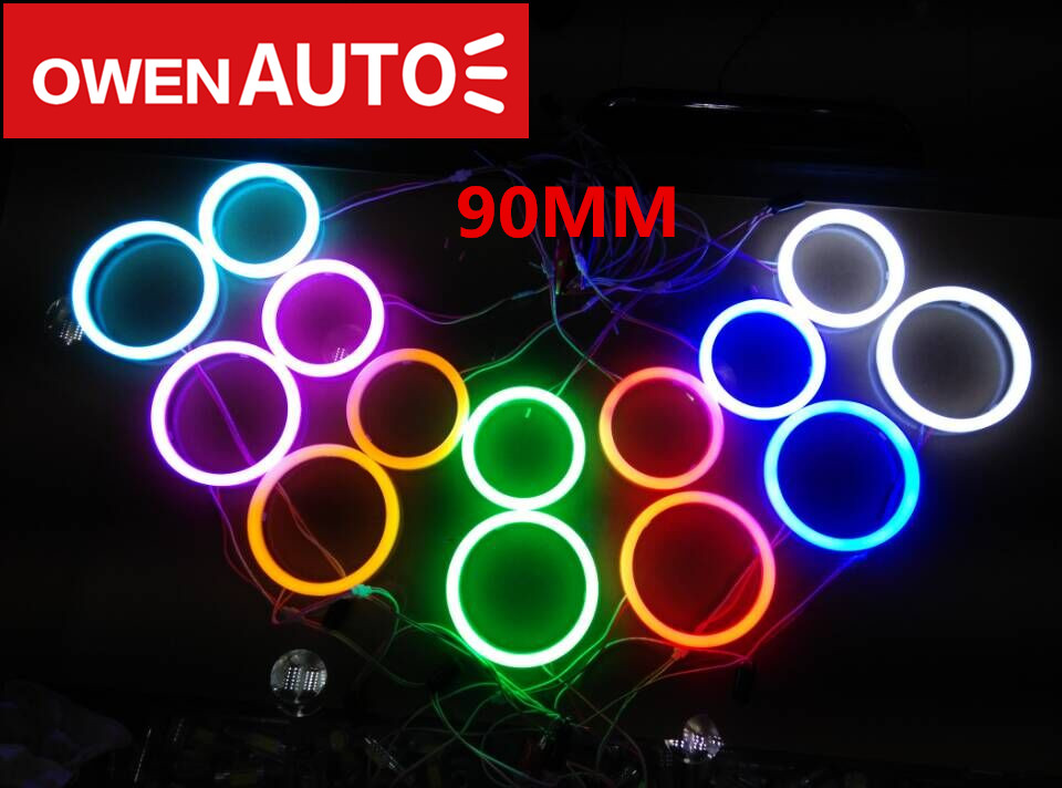 hot selling 90MM Car angel eyes aperture auto style lamp led headlight colourful day lights with PC cover free shipping(China (Mainland))