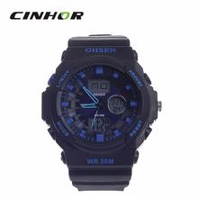 Ohsen AD1216 moda multifunción analógico + Digital resistente al agua reloj de pulsera – negro + Deep Blue