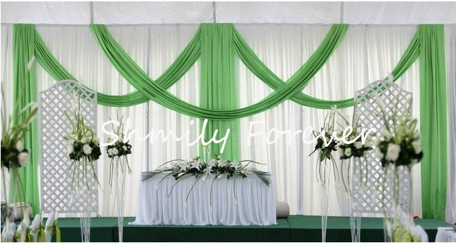 beautiful white with green pleated wedding backdrops curtain with built in swags for. Black Bedroom Furniture Sets. Home Design Ideas