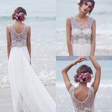 Anna Campbell 2016 Wedding Dresses Beading Crystals Sleeveless Chiffon Beach Wedding Gowns Floor Length Luxury Bridal Dress t50(China (Mainland))
