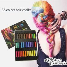 1 Set/36 Colors Chalks for The Hair Non-toxic Temporary Salon Hair Color Hair Dye Kit Pastel Hair Chalk Set