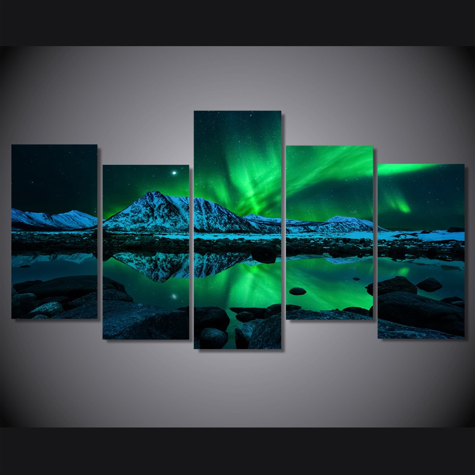 Unframed 5 Panels aurora borealis Painting on canvas Home decoration wall art paintings fashion oil paintings(China (Mainland))