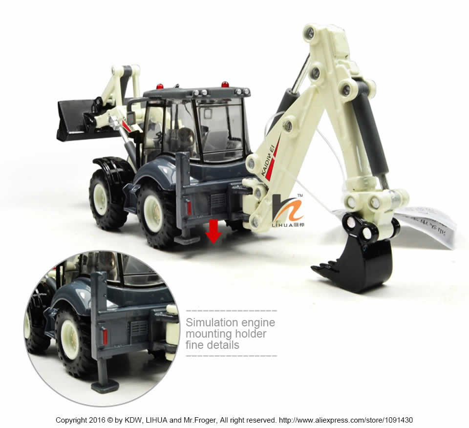 Mr.Froger KDW 1:50 Again Hoe Loader mannequin Toy Refined metallic Engineering automobiles Ornament Truck Presents Excavator Forklift