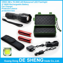 CREE XM-L T6 2000 LM Waterproof LED torch  Flashlight+2*18650 Rechargeable Battery+Car Charger+Protective sleeve+protection box(China (Mainland))