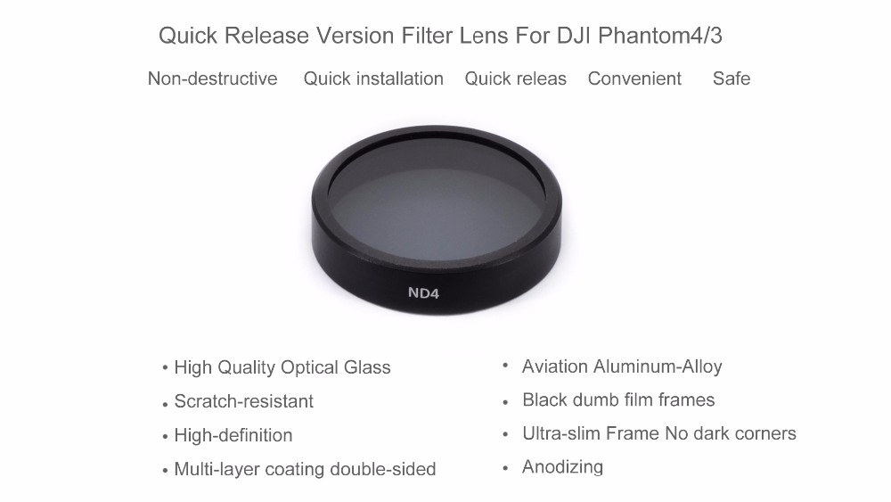 PGY ND4 Quick Install Lens Filters for DJI phantom 4 phantom 3 drone parts accessories Gimbal Camera 2016 NEW