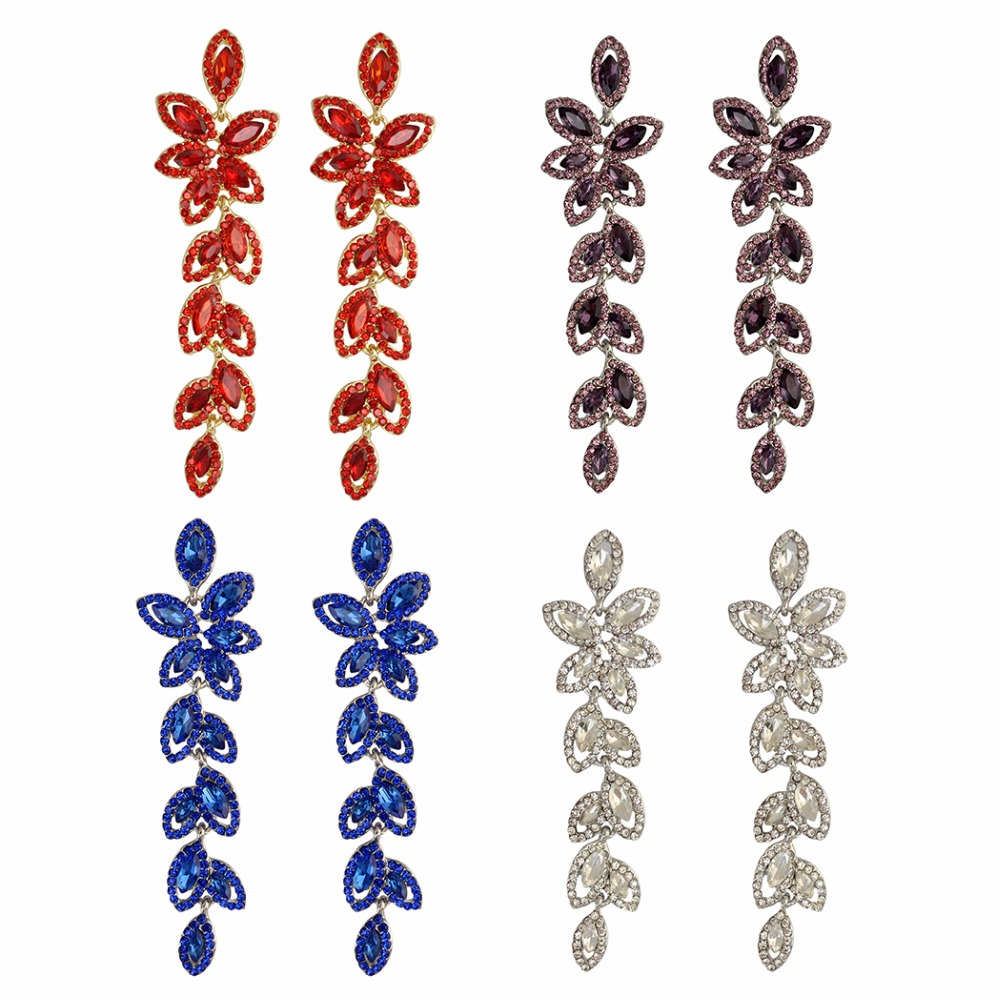 Idealway Shiny Red Blue Clear Luxury Zircon Drop Earrings For Women Bridal Gold/Silver Plated Wedding Party Flower Earring(China (Mainland))