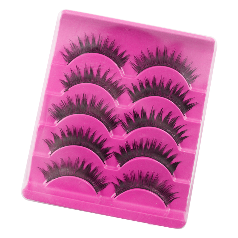 LCBOX 5 Pairs New Black Cross Human Hair False Eyelashes Soft Long hankmade Makeup Eye Lashes Extension Tools