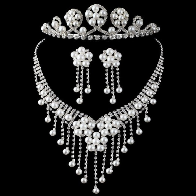 Crystal Pearl Necklace+ Earring +Crown Jewelry sets  Bridal Wedding Flower Pearl Rhinestone Jewelry Sets Dropshipping