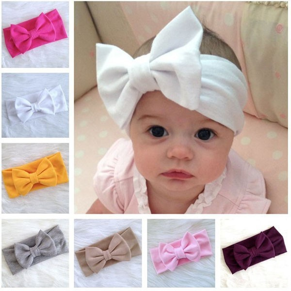Baby cotton bowknot headbands Fashion Infant girls Top Knot hair accessories 11colors candy color big bow ribbon 10pcs/lot HB432(China (Mainland))