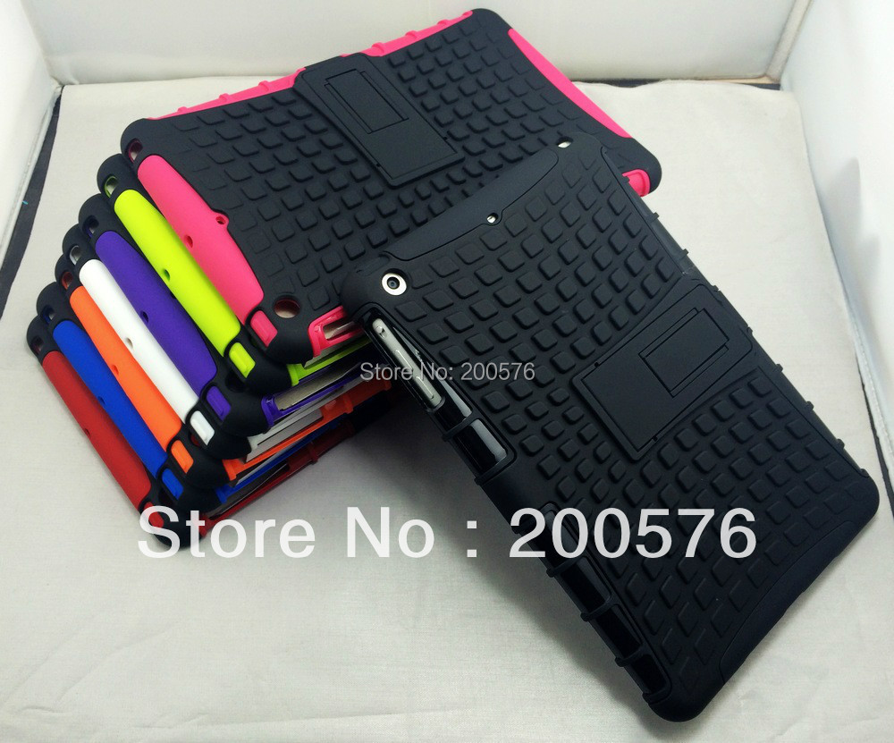 """Dual Armor Hybrid TPU&PC CASE For iPad mini 2 with retina 7.85"""" with Stand Protective Skin Double Color Shock Prooffor(China (Mainland))"""