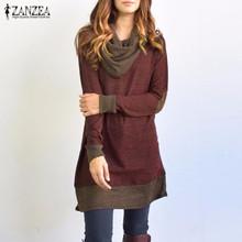 ZANZEA Women Dress 2016 Autumn Pullover Long Sleeve Bow Collar Dresses Ladies Casual Vestidos Plus Size S-5XL