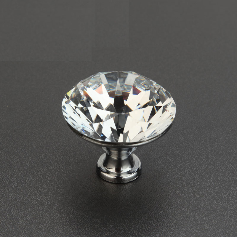 10 pcs 32 mm forme cristal de diamant cabinet verre bouton placard tiroir tirer sur la poign e. Black Bedroom Furniture Sets. Home Design Ideas