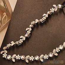 Fashion Women's Hot New Silver Crystal Rhinestone Flower Elastic Hair Band Headband Hair Accessories Free Shipping 1JG3(China (Mainland))
