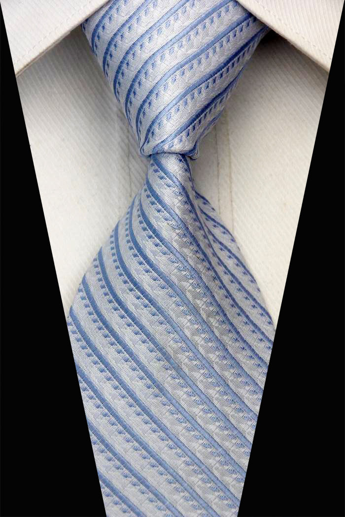 NT0165 Gold White Yellow Stripe Smooth Jacquard Elegant Silk Polyester Man Business Wedding Tie Casual Necktie