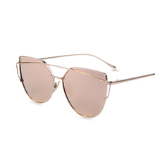 Hot Sale Mirror Flat Lense Women Cat Eye Sunglasses Classic Brand Designer Twin-Beams Rose Gold Frame Sun Glasses for Women M195(China (Mainland))