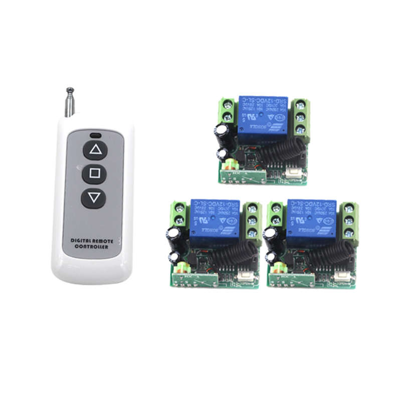 Home Automation DC 12V 1CH Remote Control Light Switch RF Gate Garage Door 1 Transmitter and 3 Receiver 4003(China (Mainland))