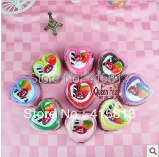 Free shipping originality Fruit love shaped holiday gifts commercial birthday cake towel Christmas gift 20x20cm 45g(China (Mainland))