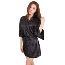 Women Sexy Large Size Faux Silk Satin Night Kimono Robe Short Bathrobe Perfect Wedding Bride Bridesmaid Robes Dressing Gown LM75(China (Mainland))